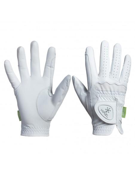 Un par de guantes de equitación Hirzl Sofft; unos guantes blancos y de gran comodidad.