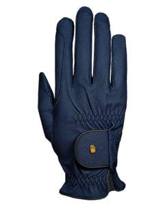 Guante de equitación Roeckl Grip azul marino con un pequeño detalle en dorado. Un guante con un buen agarre.