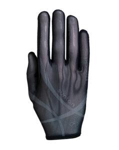 Guante de equitación Roeckl Laila Summer especial para verano gracias a su tejido más transpirante. En color gris oscuro.
