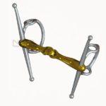 Filete para caballos de elevador con palillos doble partido de color bronce.