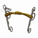 Filete para caballos pelham doble partido de color bronce.