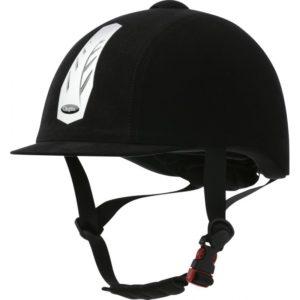 Casco de equitación Choplin Aero, casco sencillo con recubrimiento de terciopelo negro.