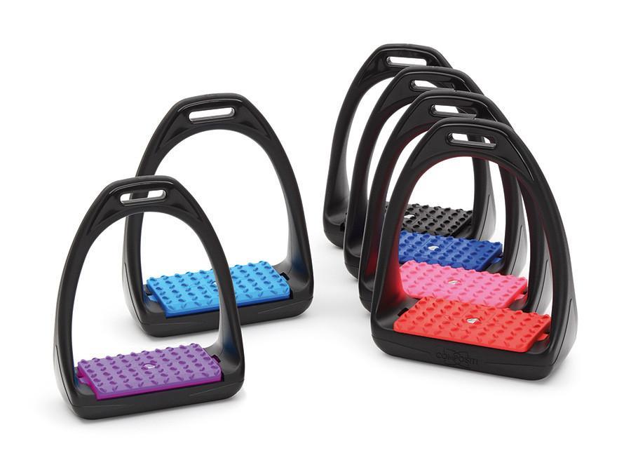 Estribos de doma con el arco negro y una variedad de colores para la base de la marca Compositi