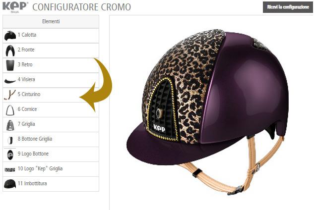 El configurador de cascos KEP creando un casco morado con un estampado de leopardo.