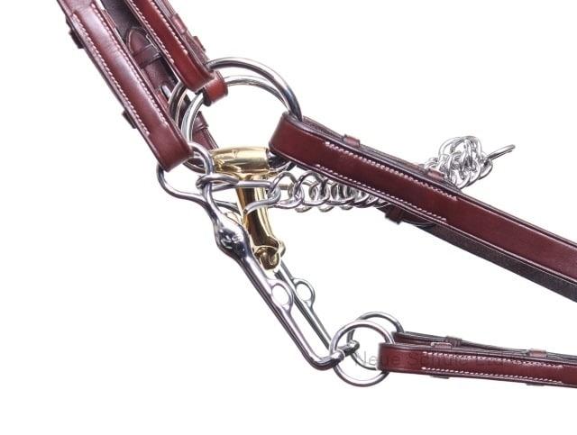 las riendas que se conectan al bocado y el filete para caballos de color marrón rojizo