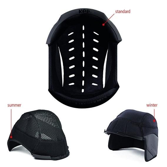 Un diagrama que muestra las opciones del casco KEP para verano e invierno.
