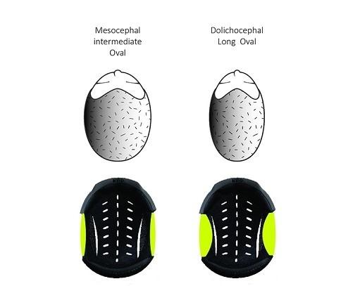 Un diagrama con los materiales adaptables del casco KEP. Tienen forma oval.